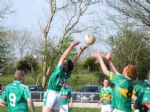 Oliver Duffin contests a high ball